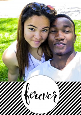 personalizable love postcard with black and white stripes and a forever logo on the left