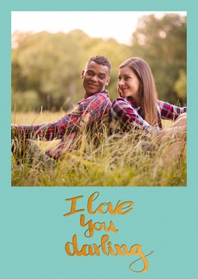 Personalizable love postcard which says i love you darling