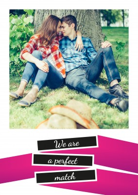 simple love statement postcard in pink,black and white