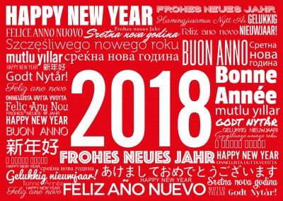 New Year greetings in white on a red background written in various languages card
