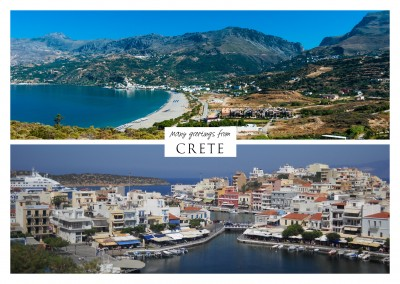 Two photos of the island crete in greece