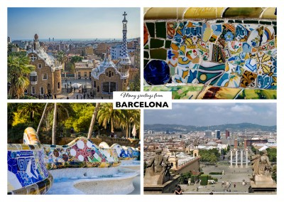 photo collage with 4 pictures of Barcelona showing Park Güell, city centre square and ceramic patterns