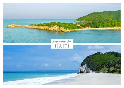 two photos of haiti beach palms