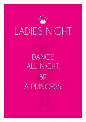 ladies night crown with girl silhouette in pink