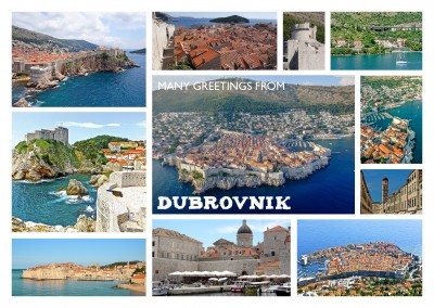 multipic photocollage of Dubrovnik with many pictures off the old town