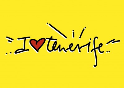 I love Teneriffa handwriting with heart on yellow ground