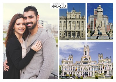 triple fotocollage of madrid's hisportic landmarks
