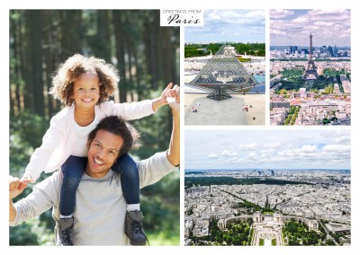 photocollage of paris with view above the eiffel tower