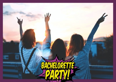 bachelorette party pop art comic lettering