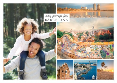 fotocollage Barcelona with white frame