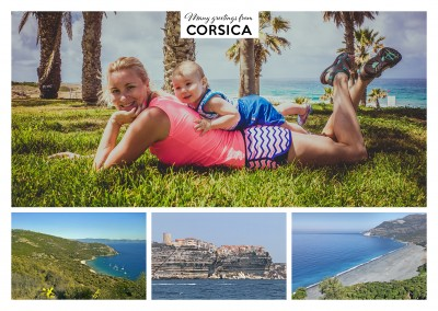 photocollage consisting of 3 images of corsica