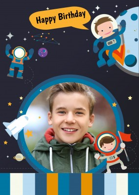 children's illustration showing cute astronauts and rocket in space