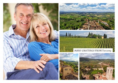 photocollage of four typical tuscany landscape pictures