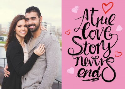 trendy, black handlettering with heart on pink background