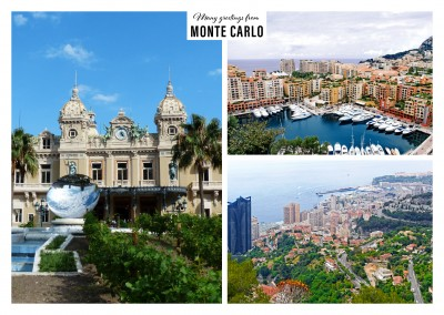 triple photocollage of monte carlo showing harbor and grand casino