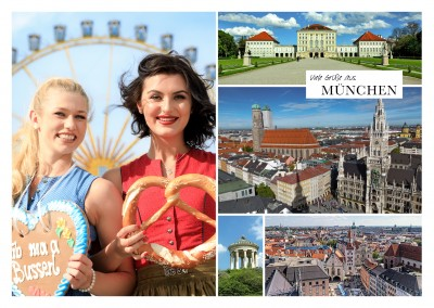 multipic photocollage of Munich inkluding city hall, monopteros and view above the city