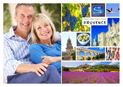 provence multi photocollage with purple fields of simiane la rotonde