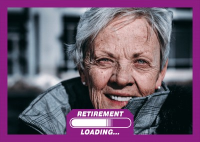 retirement loading bar white on purple background