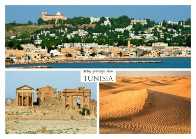 triple photocollage of tunisia with panoramic view