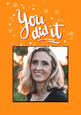 editable Congratulation-Card with orange layout and writing
