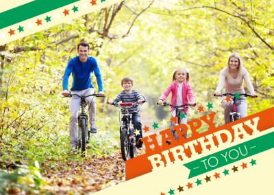 old school retro colour combination in red, green, orange and beige saying happy birthday to you with stars