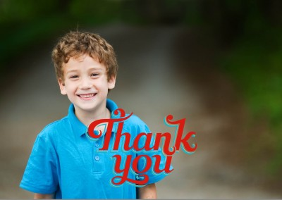 bold, red retro lettering with blue outlines saying thank you