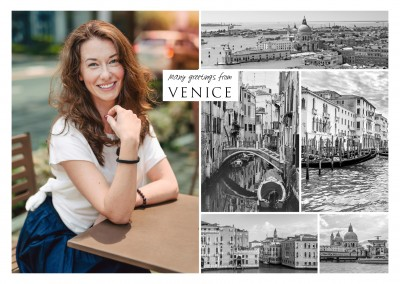 black and white photocollage of Venice