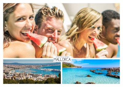 panoramic photocollage of Mallorca showing city and beach