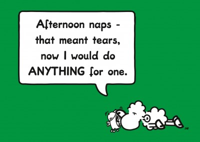 sheepworld wordheroes sheep cartoon on green ground with funny quote about afternoon naps