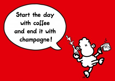 sheepworld wordheroes sheep cartoon onred ground with funny quote about champagne