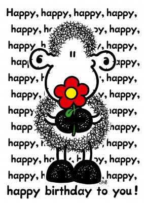 sheepworld wordheroes sheep cartoon with flower and happy written all over