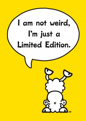 sheepworld wordheroes sheep cartoon on yellow ground saying I'm a limited edition