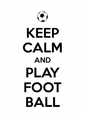 keep calm and play football black lettering on white ground with football icon