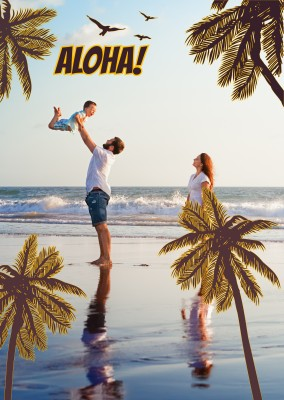 palm trees at the beach with birds and Aloha in retro lettering