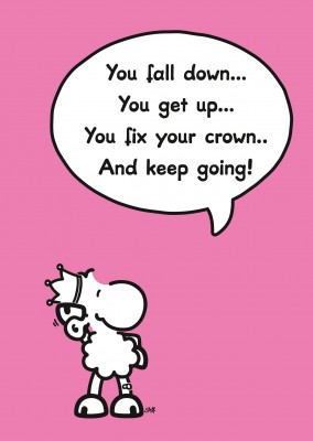 sheepworld wordheroes sheep cartoon on pink ground with funny quote about falling and fixing your crown