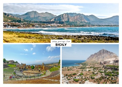 three photos from sicily withe ocean port boats and beach