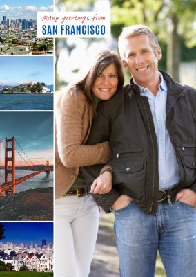 fotocollage von san francisco mit alcatraz, golden gate, painted ladies