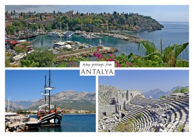 Dreier collage mit fotos aus Antalya