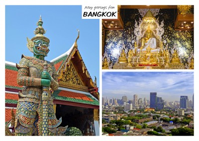 Dreier collage mit fotos aus Bnagkok in Thailand