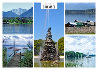 fünf fotos vom chiemsee als collage steg brunnen