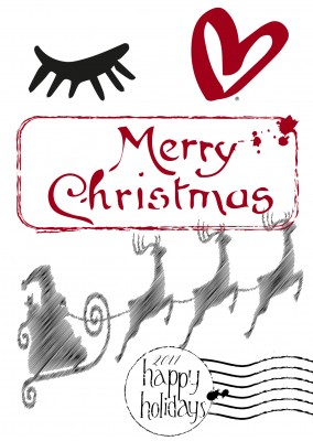 Illustration Merry christmas auf weissem Grund