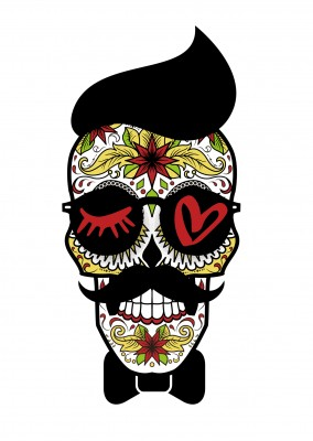 Illustration Eye love Totenkopf hipser