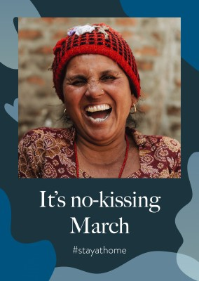 Postkarte Spruch It's no-kissing March