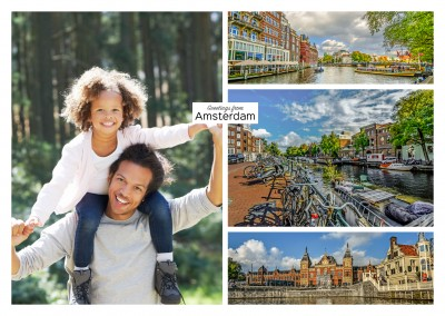 Amsterdam panorama photocollage mit Grachten