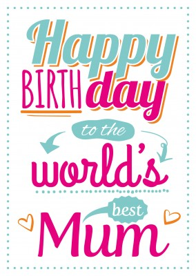 weisse postkarte happy birthday to the world best mum