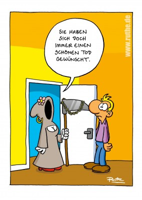 Ruthe Cartoons∞ Sensemann an der Tür–mypostcard