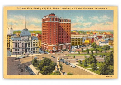 Providence, Rhode Island, Exhcnage Place, City Hall, Biltmore hotel and Civil War Monument