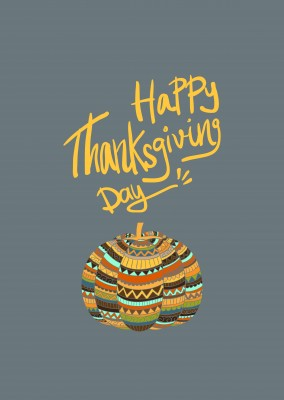 Happy Thanksgiving Day.  Zucca colorata con il modello.