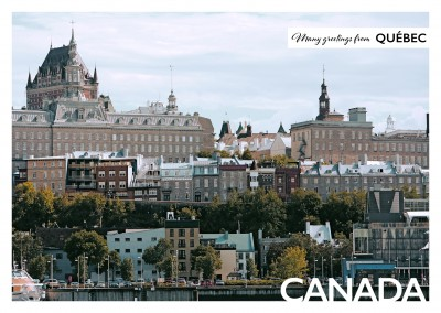 Postcard with photo of Quebec