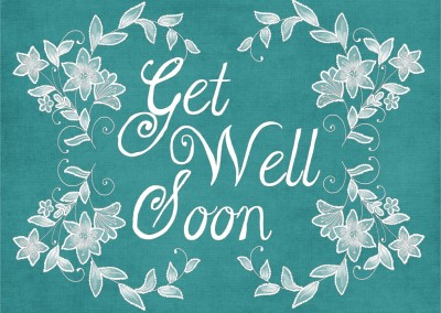 get well soon lettering on blue background postcard